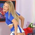Sexy cheerleader gets into dildo action