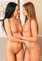 Noira and Lindsey - Limber teens strip lick and dildo
