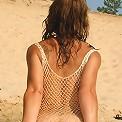 Naughty teen wears see-thru dress