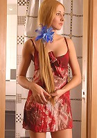 Blonde long-legged Russian teen beauty