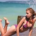 Skokoff's Janetta flashing tits on the beach