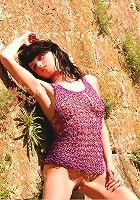 Zemani.com Yolla - Cute brunet girl poses nude artistically near the old basin.